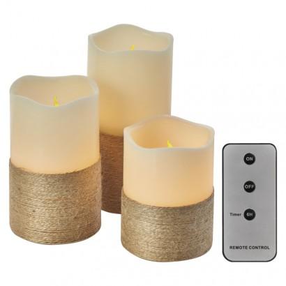 LED dekorace – 3× svíčka s provázkem, 3× 3×AAA, ovlad., čas.