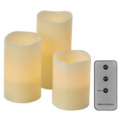 LED dekorace – 3× svíčka, 3× 3×AAA, ovladač, časovač