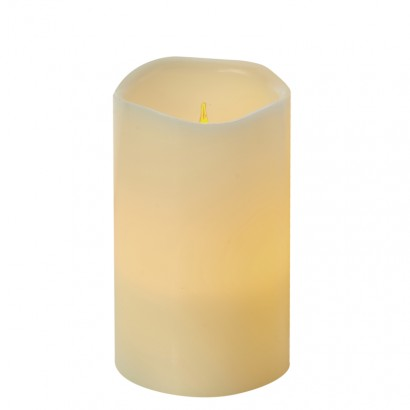 LED dekorace – vosková svíčka, 12,5cm, 3× AAA, časovač