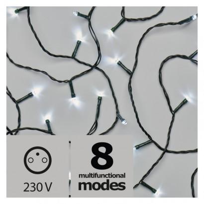 LED vánoční řetěz, 18m, studená bílá, programy