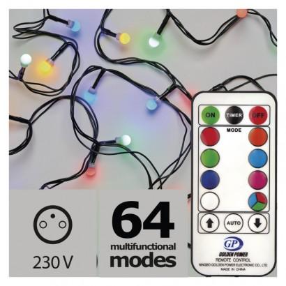LED vánoční cherry řetěz s ovladačem – kuličky, č./z./m.,pr.