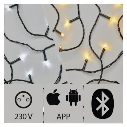 Aplikáciou ovládaná LED vianočná reťaz, 24m, vonk., st./t.b.