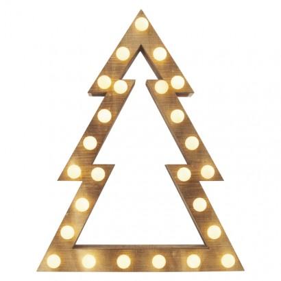 LED vánoční stromek, 37cm, 2× AA, vnitřní, teplá bílá, čas.