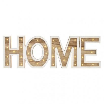 LED nápis HOME dřevěný, 45cm, 2× AA, vnitřní, teplá bílá