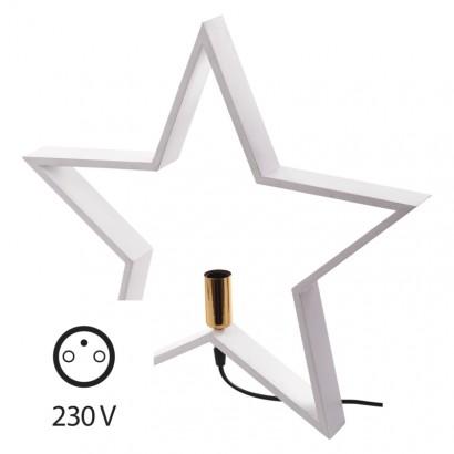 Svícen na žárovku E14 dřevěný bílý, hvězda, 48cm, vnitřní