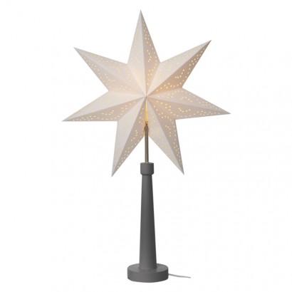 Svícen na žárovku E14 šedý s papírovou hvězdou, 46×70cm, vn.