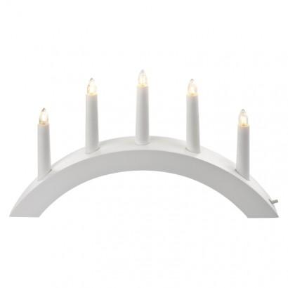 Svícen na 5× žárovičku E10 dřevěný bílý, oblouk, 40×28cm, v.