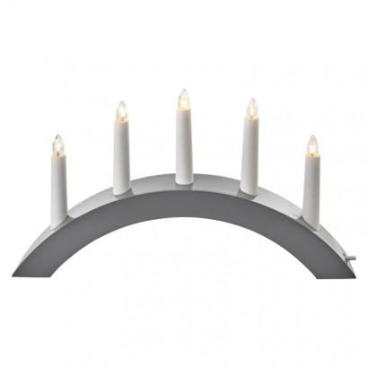 Svícen na 5× žárovičku E10 dřevěný šedý, oblouk, 40×28cm, v.