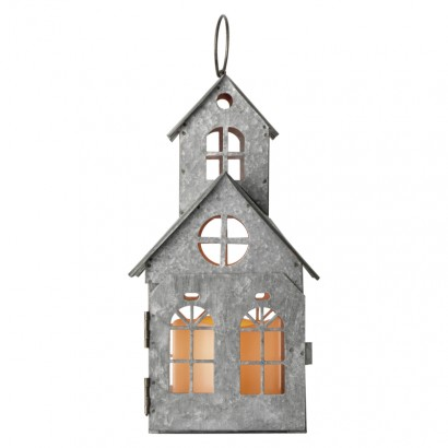 LED dekorace – domek starodávný, 3× AAA, blikající, teplá b.