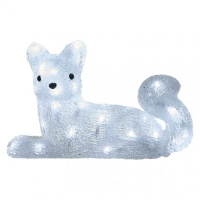 LED vánoční liška, 32cm, venkovní, studená bílá, časovač