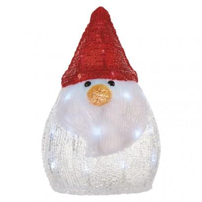 LED vánoční sněhulák, 30cm, 3× AA, studená bílá, časovač