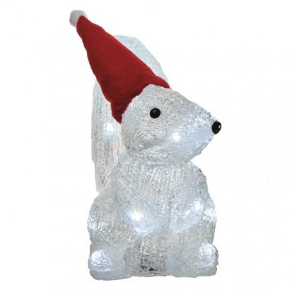 LED vánoční veverka, 22cm, 3× AA, studená bílá, časovač