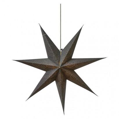 LED vánoční hvězda papírová stříbrná, 75cm