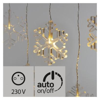 LED vánoční závěs – vločky, 80cm, venkovní, teplá bílá, čas.