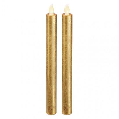 LED svíčky, 25cm, metalické zlaté, 2× AAA, jantarová, 2 ks
