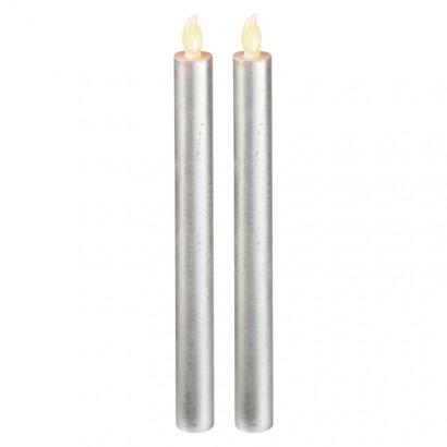LED svíčky, 25cm, metalické stříbrné, 2× AAA, jantarová,2 ks