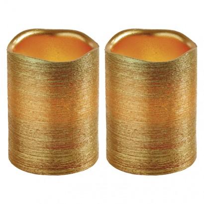 LED svíčky, 5×10cm, metalické zlaté, 3× AAA, jantarová, 2 ks