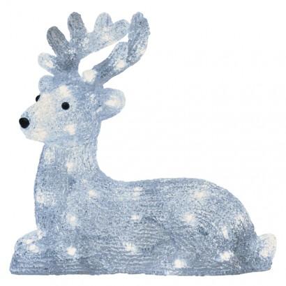 LED vánoční jelínek, 31cm, venkovní, studená bílá, časovač
