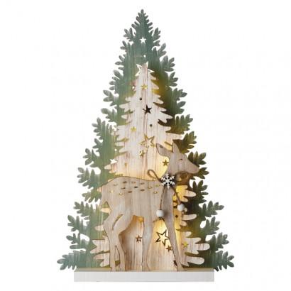 LED vánoční stromek, 23cm, 2× AA, vnitřní, teplá bílá, čas.