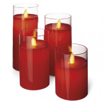 LED svíčky, 5×10/12,5/15/17,5cm, červené, 2× AA, 4 ks