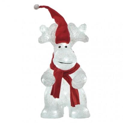 LED vánoční sob, 34,5cm, venkovní, studená bílá, časovač