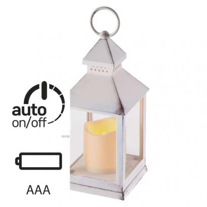 LED dekorace – lucerna antik bílá, 3× AAA, blikající, čas.