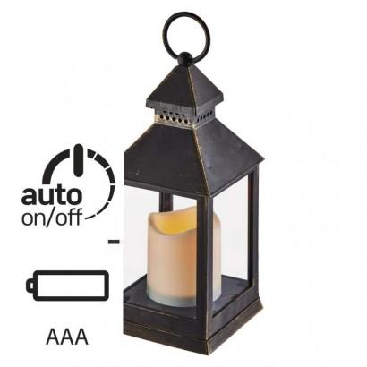 LED dekorace – lucerna antik černá, 3× AAA, blikající, čas.