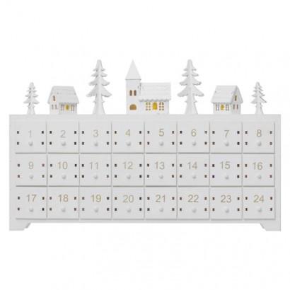 LED adventní kalendář, 37×23cm, 2× AA, vnitřní, teplá bílá
