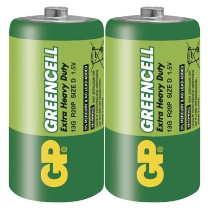 Zinkochloridová baterie GP Greencell R20 (D)prodejní obal: 2 ks, fólie