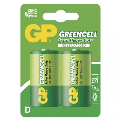 Zinkochloridová baterie GP Greencell R20 (D)prodejní obal: 2 ks, blistr