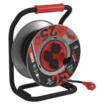 Guma-neoprén prodluž. kabel, buben kovový – 4z, 25m, 1,5mm2