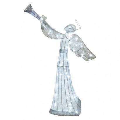 LED vánoční anděl ratanový, 130cm, vnitřní, studená b.,č.