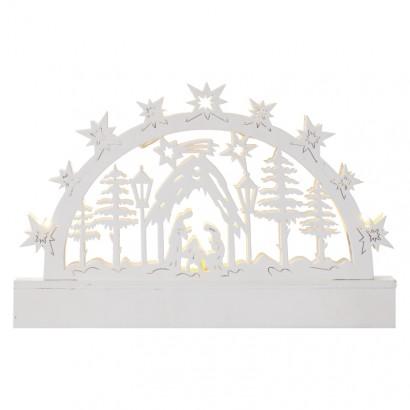LED vánoční betlém, 23cm, 3× AA, teplá bílá, časovač
