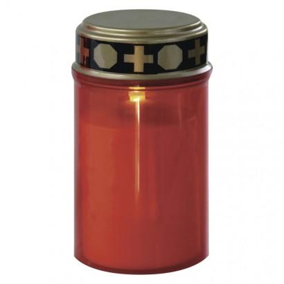 LED hřbitovní svíčka, 2× C, červená, časovač