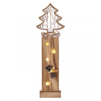 LED vánoční strom dřevěný, 48cm, 2× AA, teplá bílá, čas.