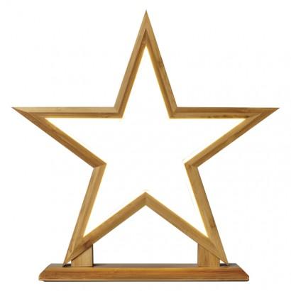 LED dekorace – hvězda dřevěná, vnitřní, teplá bílá