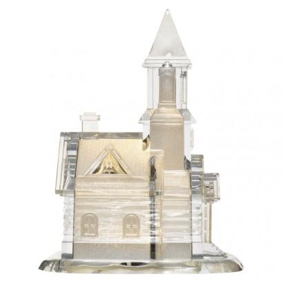 LED kostel akrylový, 21cm, 3× AAA, teplá bílá