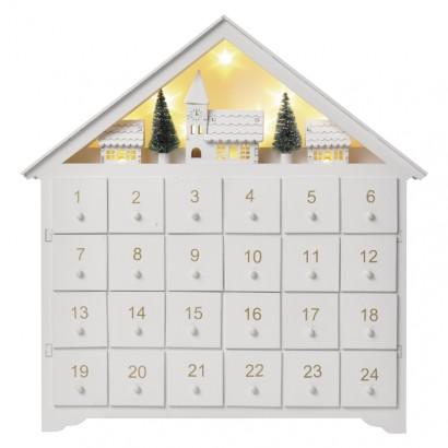 LED adventní kalendář, 35x30cm, 2x AA, vnitřní, teplá bílá