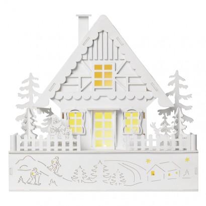 LED vánoční domek, 28cm, 2× AAA, teplá bílá, časovač