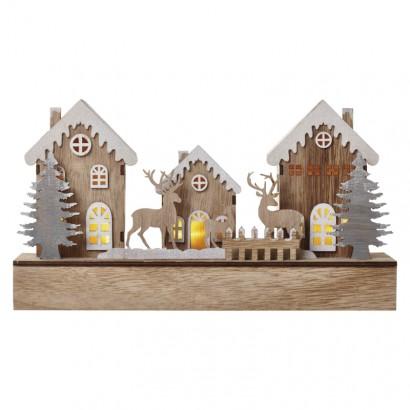 LED vánoční domečky, 30cm, 2× AA, teplá bílá, časovač