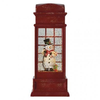 LED vánoční telefoní budka 25x10cm, 3x AA, vnitřní, teplá b.