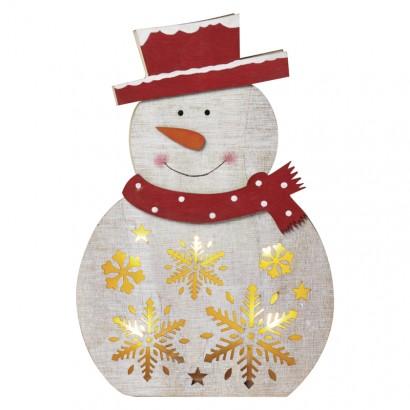 LED vánoční sněhulák dřevěný, 30cm, 2× AAA, teplá bílá, čas.