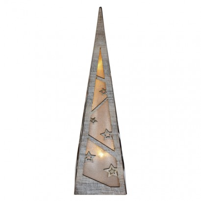 LED pyramida, 36cm, 2× AA, teplá bílá, časovač
