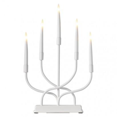 LED svícen kovový bílý, 2× AA, teplá bílá, časovač