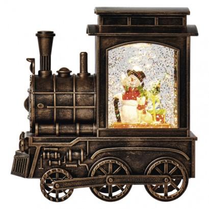 LED vánoční mašinka 17x16cm, 3x AA, vnitřní, teplá bílá