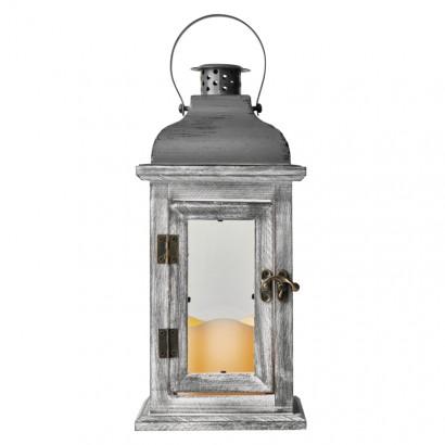 LED dekorace – lucerna dřevěná, 2× AA, šedá, vintage,