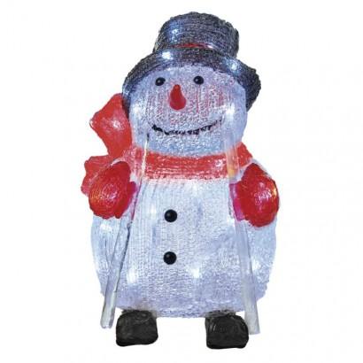 LED vánoční sněhulák, 28cm, venkovní, studená bílá, časovač