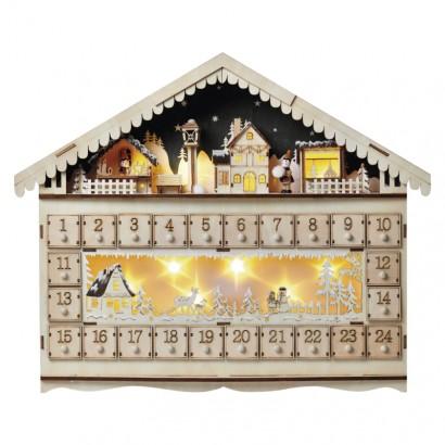 LED adventní kalendář, 19x40cm, 2x AA, vnitřní, teplá bílá