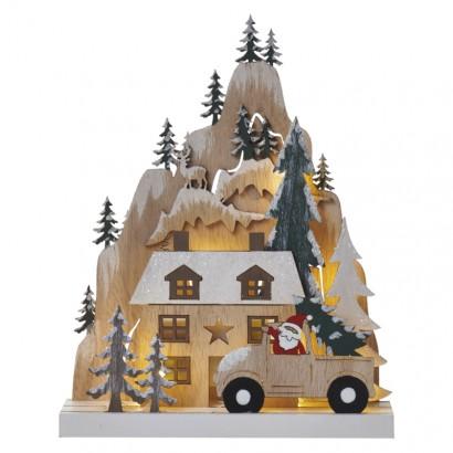 LED vánoční krajina, 22cm, 2× AA, teplá bílá, časovač