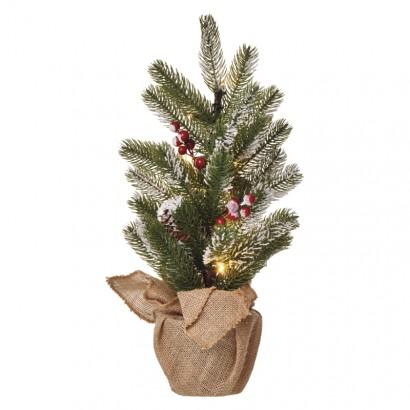 LED vánoční stromek, 52cm, 3× AA, vnitřní, teplá bílá, čas.